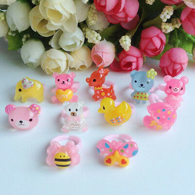 Cute 10Pcs Wholesale Mixed Lots Cartoon Children/Kids/Girls Resin Rings Party