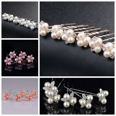 5/6PCS Pearl & Crystal Hair Pins Rose Gold Pink Silver White Bridal Headwear UK