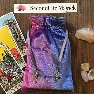 Pink & Blue 'Abalone' Velvet Tarot Card Bag Oracle Pouch. YOUR CHOICE of CHARMS.