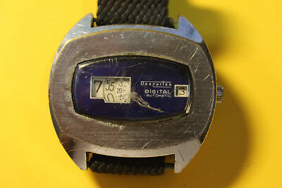 Desrates Digautomatic Digital  4,3cm Herrenarmbanduhr 60-70erJ läuft Glas defekt
