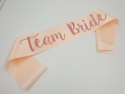 Rose Gold Team Bride  Sash Wedding Hen Party Girls Night Out Satin Sashes