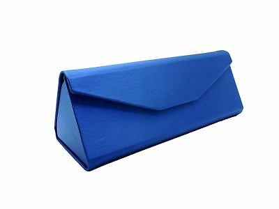 Blue Folding Glasses Case Brushed Metal Look Fold Up Spectacle Case