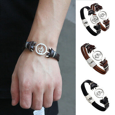 Men Retro Hollow Musical Note Bracelet Faux Leather Wristband Hand Jewelry Nice