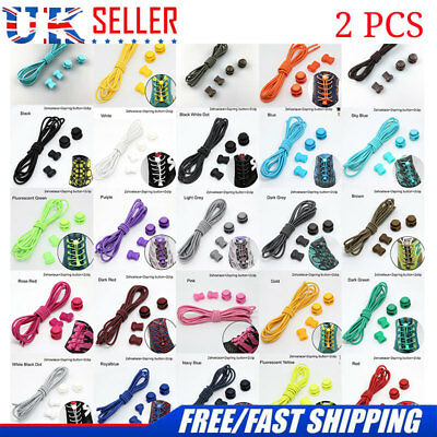 2PCS No Tie Elastic Lock Lace System Lock Shoe Laces Shoelaces Runners