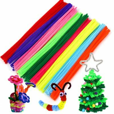 100pc/L Handmade 30cm Chenille Stems Pipe Cleaners DIY Craft Material for Kids C