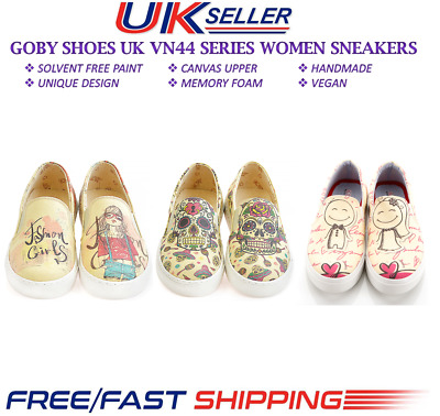 Goby Womens Shoes Unique Graphic Design Handmade Vegan Sneakers Shoes (4406)