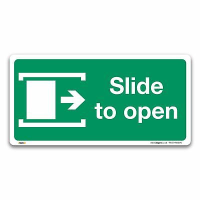 Slide to open right Fire exit Sign, Plastic or Vinyl Sticker, Safety Door Signs