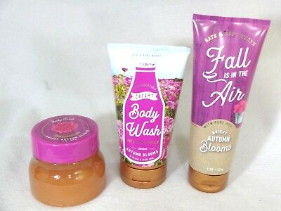 Bath & and Body Works BRIGHT AUTUMN BLOOMS CREAMY BODY WASH, SCRUB & CREAM 3 PC