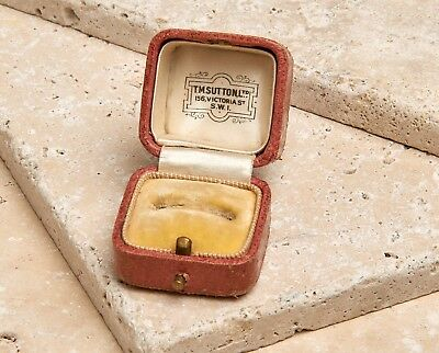 Antique Vintage Edwardian Pink Leather Jewellery Ring Box Jewelry Display Case