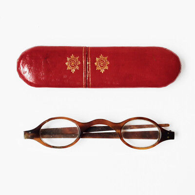 Antique Faux Tortoise Shell Spectacles With Antique Spectacle Case 19c