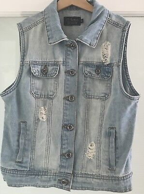 Girls Distressed Denim Vest Size S