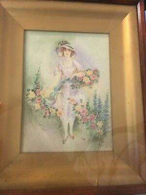 hand painted Porcelain Portrait  Tile (England?) Lady In Garden