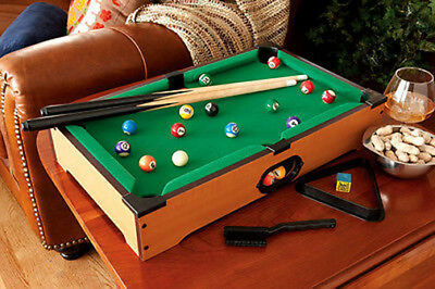 MINI POOL TABLE Set W Pool Balls Pool Cues Lightweight Portable - Mini billiards table set