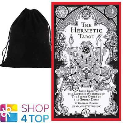 Hermetic Tarot Deck Cards Esoteric White Black Us Games Systems With Velvet Bag