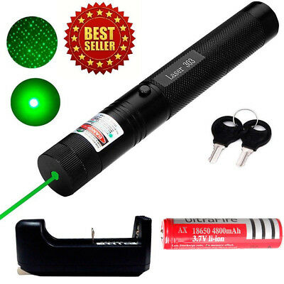 10Miles 532nm Green 303 Laser Pointer Lazer Pen Visible Beam Light+18650+Charger