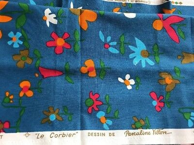 """Vintage French Fabric """"Le Corbier"""" by Pascaline Yillon"""