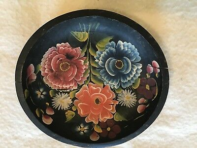 "Rustic Hand Painted Carved 9"" Black Floral Bowl"