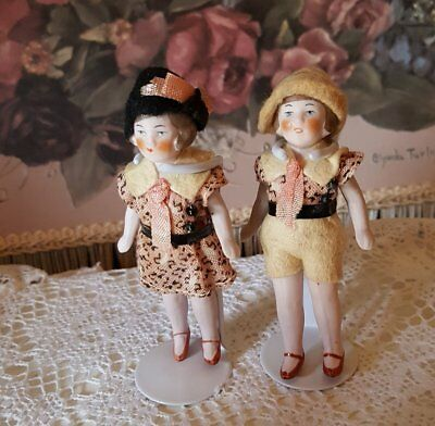 """Twins (2) Doll House Size Dolls-Vtg.- Bisque 3"""" -Germany!"""
