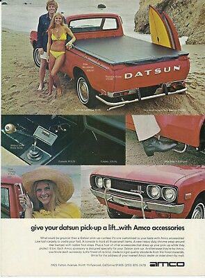 1973 Datsun Pickup Truck Red Amco Accessories Vintage Print Ad Advertisement