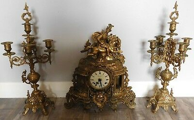 Vintage  Solid Brass Imperial Mantle Clock With Matching Candelabras