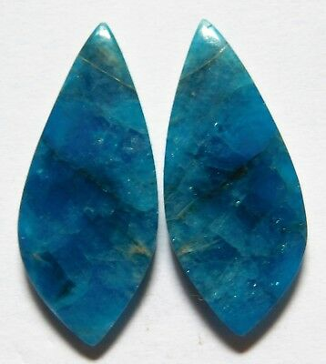 30.90 Cts Natural Blue Apatite (31mm X 13.5mm each) Cabochon Match Pair