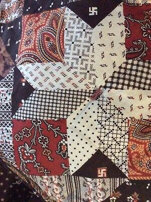 Large Pre World War II Swastika Quilt