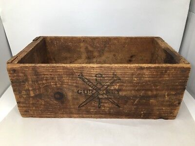 "Gurney Quality Primitive Rustic Wood Nail Crate Old Advertising Box, 20"" Long"