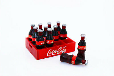 12 Bottle Coke Cola Tray set Dollhouse Miniature Soda Beverage Kitchen Accessory