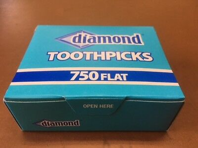 Diamond Flat Wood Toothpicks $1.25 per Box with 5 Box set Purchase of $6.25