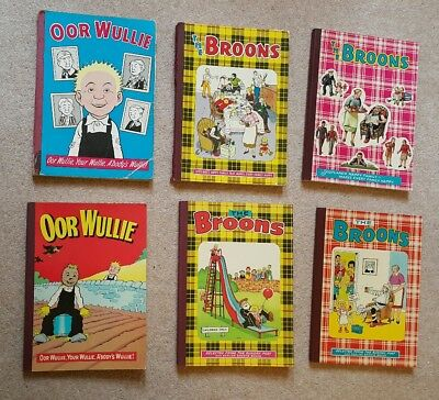 Collection Vintage Oor Wullie The Broons Annuals 1966, 1971, 1973, 1974, 75 & 77