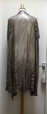 A 1920'S Large Dark Brown And Silver Assuit Shawl, Listed For Costume Making
