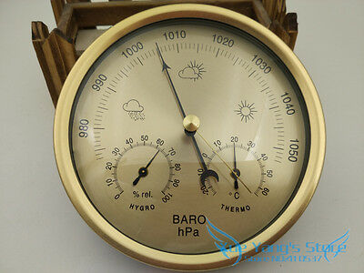 Quality Precision Aneroid 132mm 3 in1 Barometer With Thermometer and Hydrometer