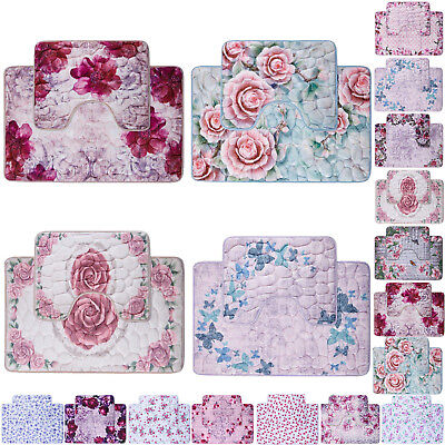 Memory Foam Bath Mat Set 2 Piece Extra Large Floral Butterfly Non Slip Bathroom