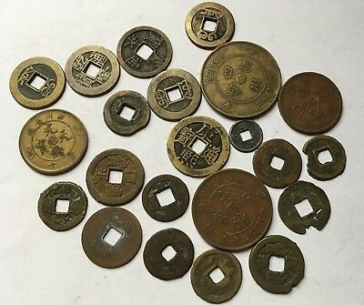 Lot Of Old Copper - Bronze Copper Coins From China, Japan