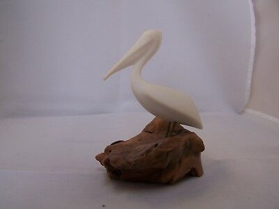John Perry Vintage Pelican Sculpture, closed Mouth, Burlwood Base, #180