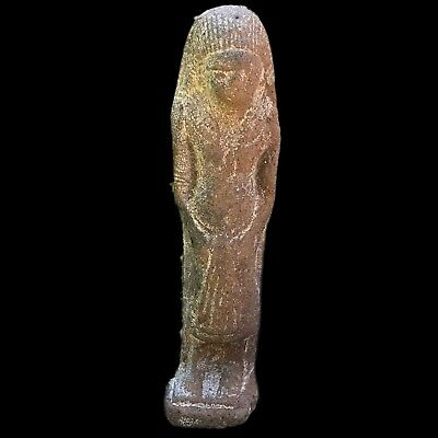 EGYPTIAN HIEROGLYPHIC SHABTI, LATE PERIOD 664 - 332 BC LARGE! OVER 15cm Tall (1)