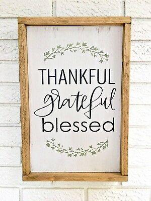 Thankful Grateful Blessed, Framed Wood Sign, Rustic Wood Sign, Pallet Style Sign