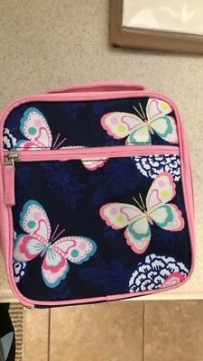 Pottery Barn Kids Insulated BUTTERFLY Lunch Box bag classic pink & navy