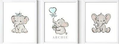 Personalised baby child elephant name print picture nursery wall decor gift boy