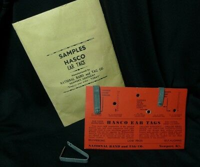Vintage HASCO Ear Tags (Sample packet) National Band & Tag Co., Newport, KY NOS