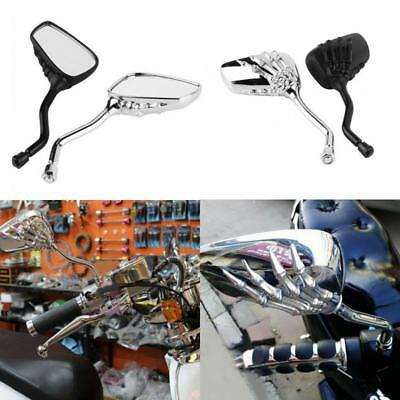 8-10mm 1Pair Motorcycle Chrome SKELETON Skull HAND Claw Side Rear View Mirrors