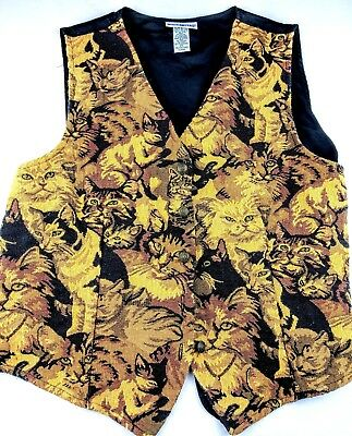Women's Vintage Cat Lover Owner Lady Gift Embroidered Vest XL X Large