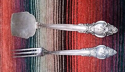 Set Vintage Roses Melchior Ussr Russian Quality Silver Plate Fork And Spatula