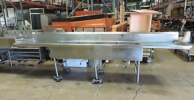 """Commercial Stainless Steel 4-Compartment Sink w/ 2 Drainboards - 152"""""""