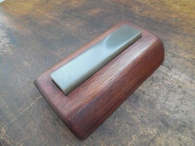 """Very Small Fine Natural Oil Stone on Wooden Stand 4"""" x just under 1"""""""
