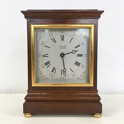 Comitti Of London Vintage Mantel Clock Mantle Time Wood Square Gold Brass Tone