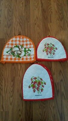Lot of 3 Vintage Toaster appliance cover quilted cozy strawberry mushroom Cute!