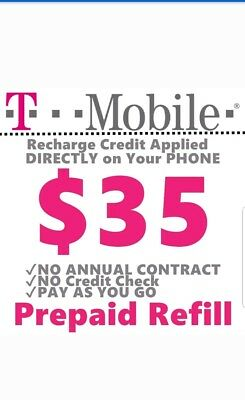 T-MOBILE $35 REFILL CARD. Direct refill to your phone ONLY!