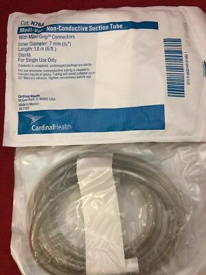 NEW LOT OF 10 CARDINAL HEALTH Medi-Vac Non-Conductive Suction Tube N76A 7mm x 6'