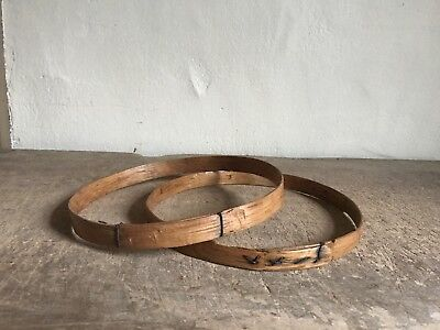Rare 19th C Wooden Handmade Embroidery Hoops Sampler Stitchery AAFA